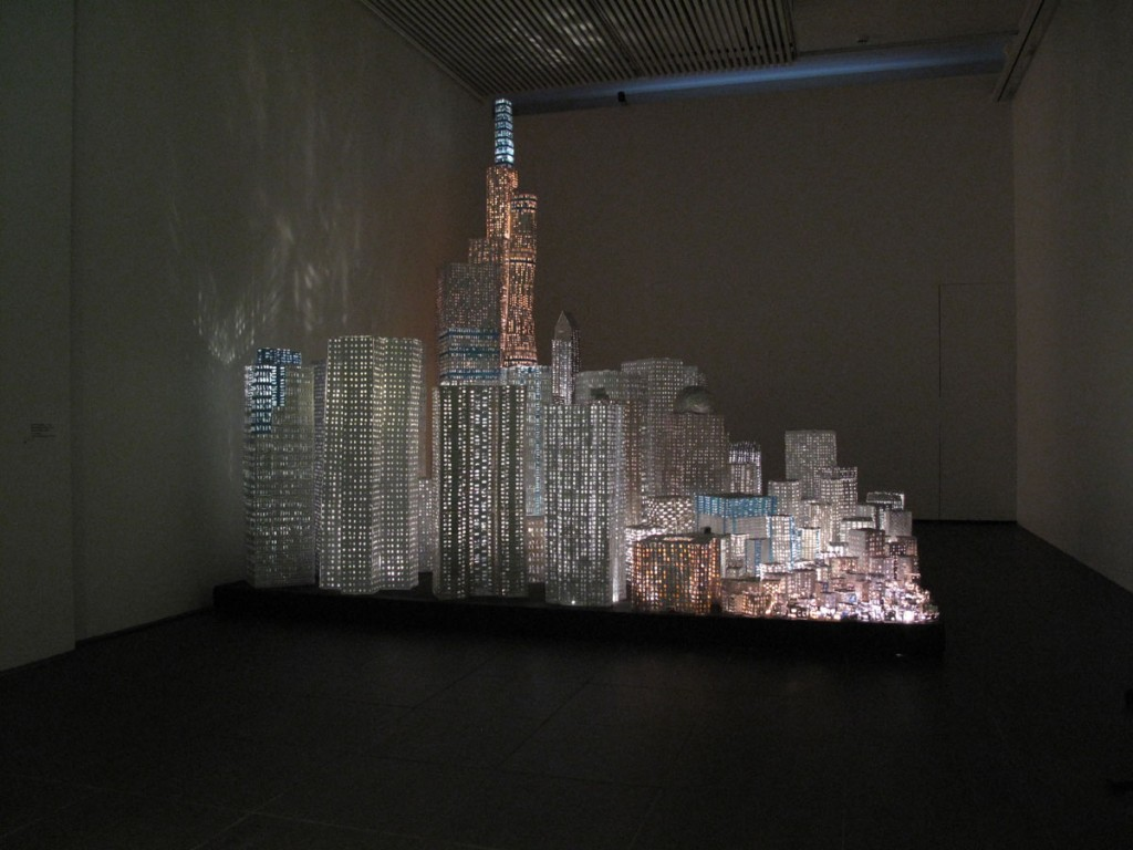 Antti Pussinen & Martta-Kaisa Virta: Medicine City, 2009, 3 x 3 x 3m, Pill Blister Packs, Glue, Wood, Fiber Optic Lights