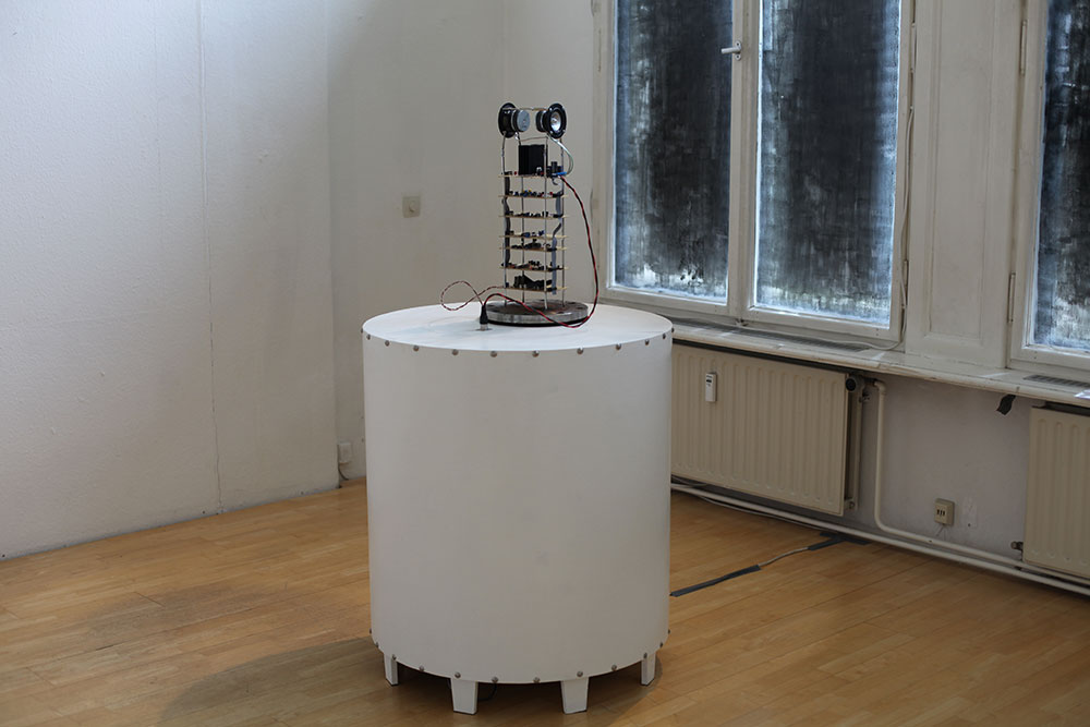 AnttiPussinen: OverUnder, 2014, 83 x 160 x 83cm, wood, steel, electronic components, cardboard, veroboard, speakers & amplifier