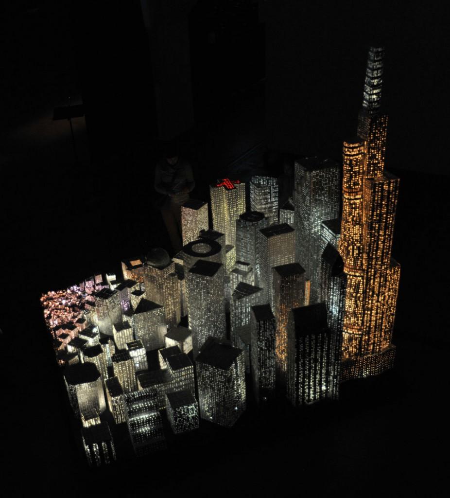 Antti Pussinen & Martta-Kaisa Virta: Medicine City, 2009, 3 x 3 x 3m, Pill Blister Packs, Glue, Wood, Fiber Optic Lights