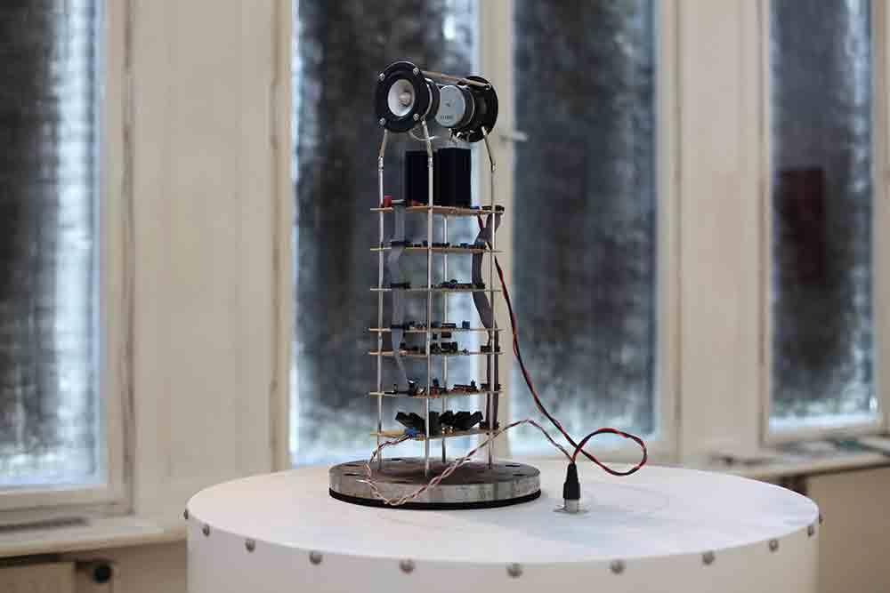 AnttiPussinen: OverUnder, 2014, 83 x 160 x 83cm, wood, steel, electronic components, cardboard, veroboard, speakers & amplifier